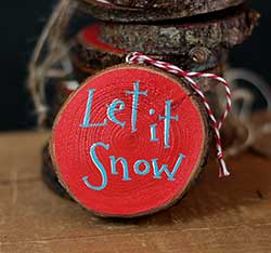 Let it Snow Hand-painted Wood Slice Ornament - Red and Aqua (Personalized)