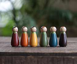 Our Backyard Studio Autumn Rainbow Peg Dolls (Set of 6)