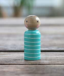 Aqua Striped Peg Doll Baby (or Ornament)
