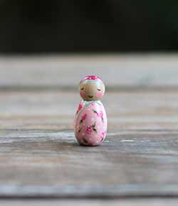 Floral Baby Girl Peg Doll (or Ornament)