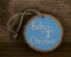 Baby's First Christmas Wood Slice Ornament - Blue (Personalized)