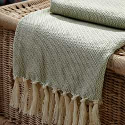 Sage Green & Ivory Woven Baby Throw