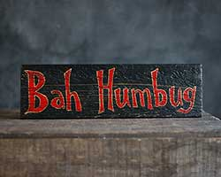 Bah Humbug Hand-Lettered Wooden Sign