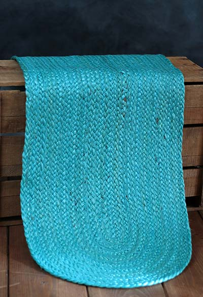 Teal Braided Table Runner, 36 inch