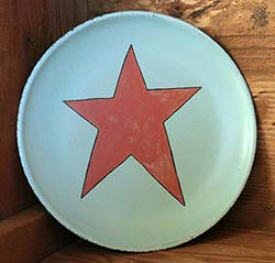 Aqua Blue Distressed Wooden with Coral Pink Star