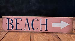 Beach Wood Sign with Arrow