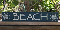 Beach Sign with Ship's Wheels - Navy Blue
