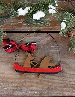 Moose & Bear in Canoe Personalized Ornament