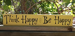 Think Happy, Be Happy Hand-Lettered Sign