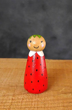 Strawberry Girl Peg Doll (or Ornament)