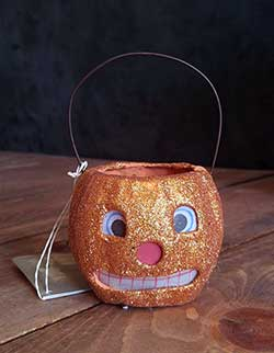Jack O'Lantern Mini Glittered Bucket