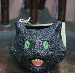 Bethany Lowe Black Cat Mini Glittered Bucket