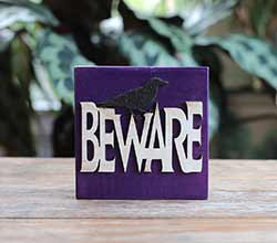 Beware Halloween Wood Sign with Crow