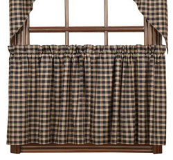 VHC Brands Bingham Star Black Plaid Cafe Curtains - 24 inch Tiers