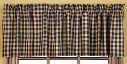 VHC Brands (Victorian Heart) Bingham Star Valance - Plaid (Black, Red, and Tan)