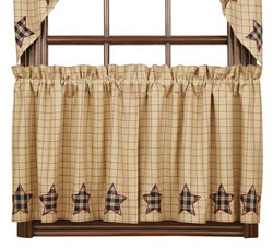 VHC Brands Bingham Applique Star Cafe Curtains - 24 inch Tiers