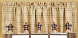 VHC Brands (Victorian Heart) Bingham Star Valance - Applique Star (Red and Tan)