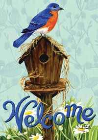 Birdhouse with Bluebird Garden Flag
