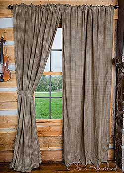 Olivia's Heartland Black Checkered Curtain Panels - 84 inch