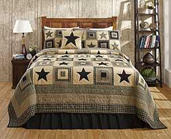 Colonial Black Star Quilt Set