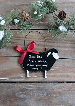Set Of 4 Farm Animal Ornament Farmhouse Wood Christmas Tree Decor Goat Cow Sheep