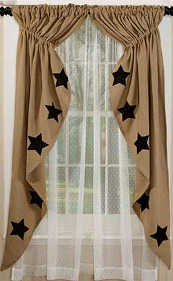 Olivia's Heartland Black Star Deluxe Burlap Prairie Curtain (63 inch)