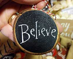 Believe Wood Slice Ornament - Black