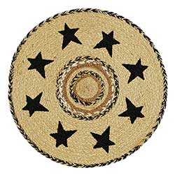 Kettle Grove Braided Tablemat / Round Placemat - with Stars