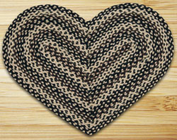 Ebony, Ivory, & Chocolate HEART Jute Rug
