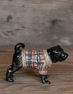 Bulldog in Sweater Porcelain Figurine