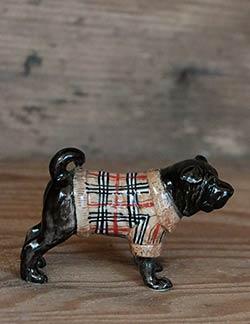 Bulldog in Sweater Porcelain Figurine