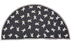 Black Primitive Star Rug - Half Circle