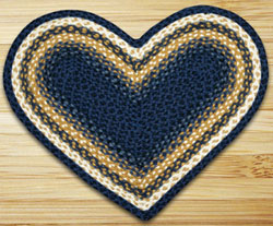 Light/Dark Blue and Mustard Heart Jute Rug