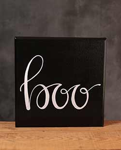 Boo Hand Lettered Canvas Painting