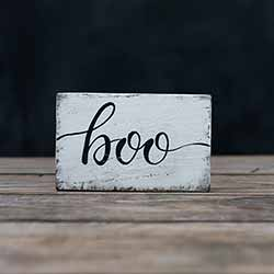 Boo Wood Sign - Distressed White