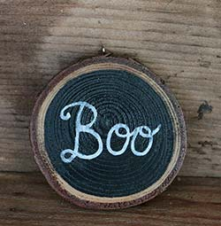 Our Backyard Studio Boo Hand-painted Wood Slice Ornament (Personalized)