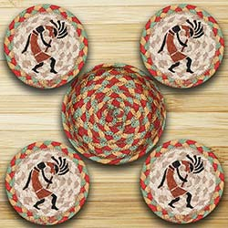 Kokopelli Braided Jute Coaster Set