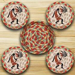 Kokopelli Braided Jute Coaster Set