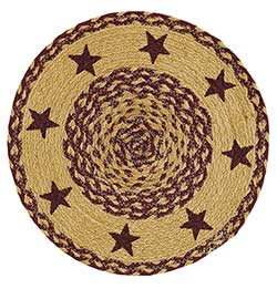 Burgundy Tan Star Round Braided Placemats (Set of 6)