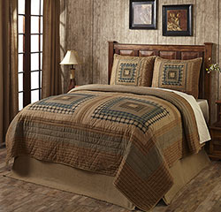 Earthtone Log Cabin Quilt Set