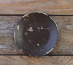 Distressed 6 inch Candle Plate - Chocolate Brown