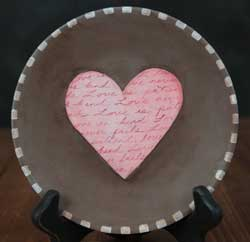 Pink Folk Heart Hand Painted Plate