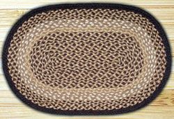 Chocolate & Natural OVAL Jute Rug - 20 x 36 inch