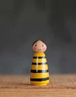 Bee Girl Peg Doll