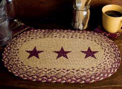 Burgundy and Tan Jute Placemat with Stars