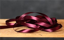 Wine Red Single Faced Poly Satin Ribbon, 3/8 inch