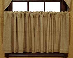 Market Street (formerly IHF - India Home Fashions) Deluxe Burlap Cafe Curtains - 24 inch Tiers