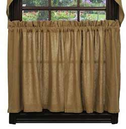 Market Street (formerly IHF - India Home Fashions) Deluxe Burlap Cafe Curtains - 36 inch Tiers