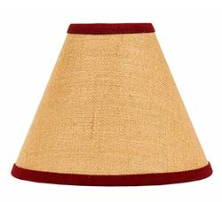 Burlap Red Lamp Shade - 10 inch