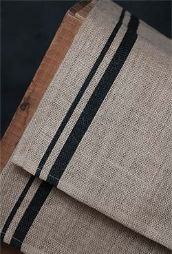Burlap Table Runner with Black Stripes